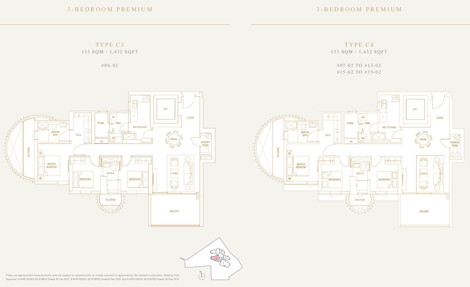 Klimt Cairnhill Floor Plans . 3BR Premium type C3