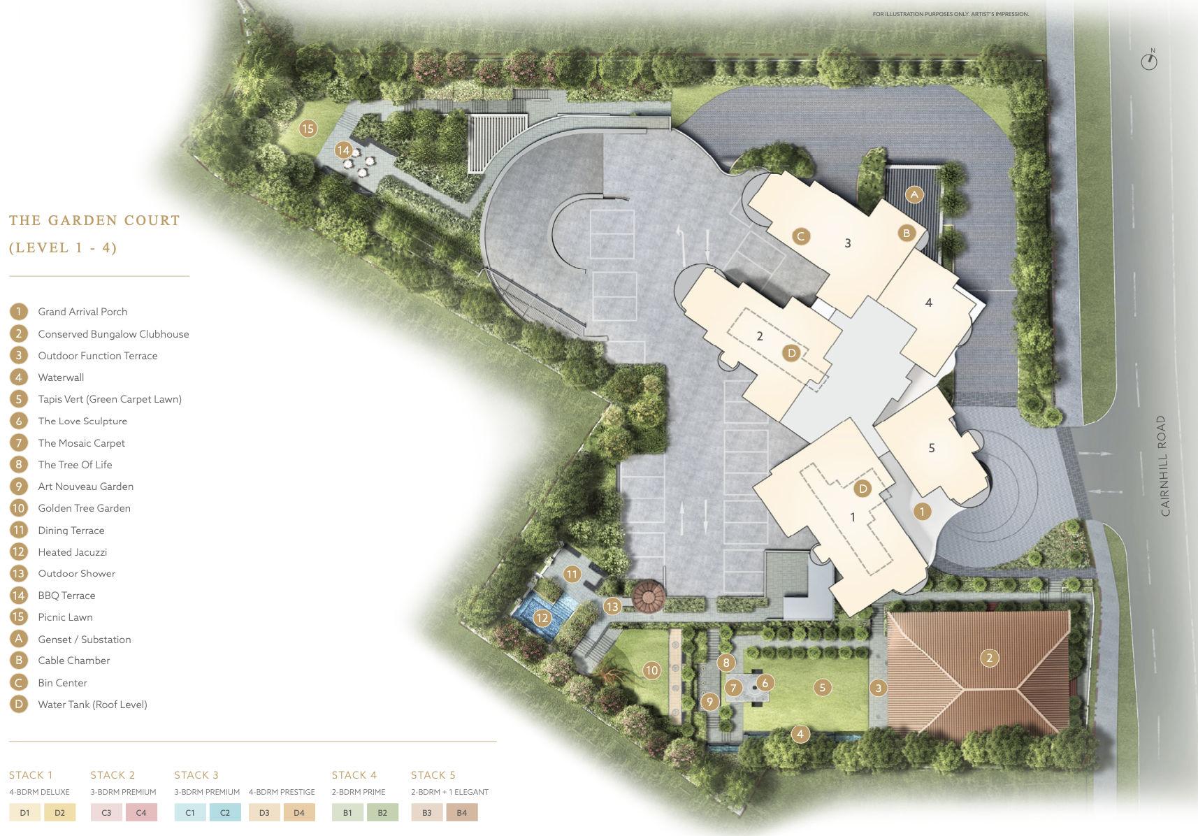 Klimt Cairnhill Site Plan . Levels 1 to 4 Garden Court