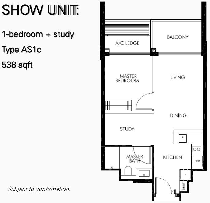 Leedon Green Floor Plan . 1 Bedroom + Study Type AS1c