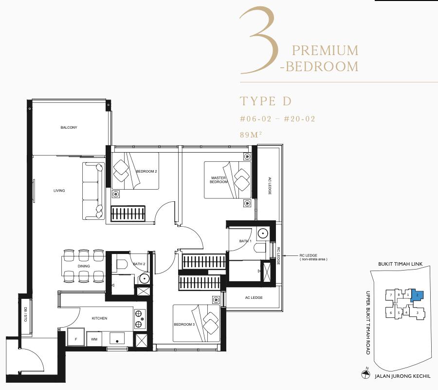 Linq Condo Floor Plan . 3 Bedroom Type D