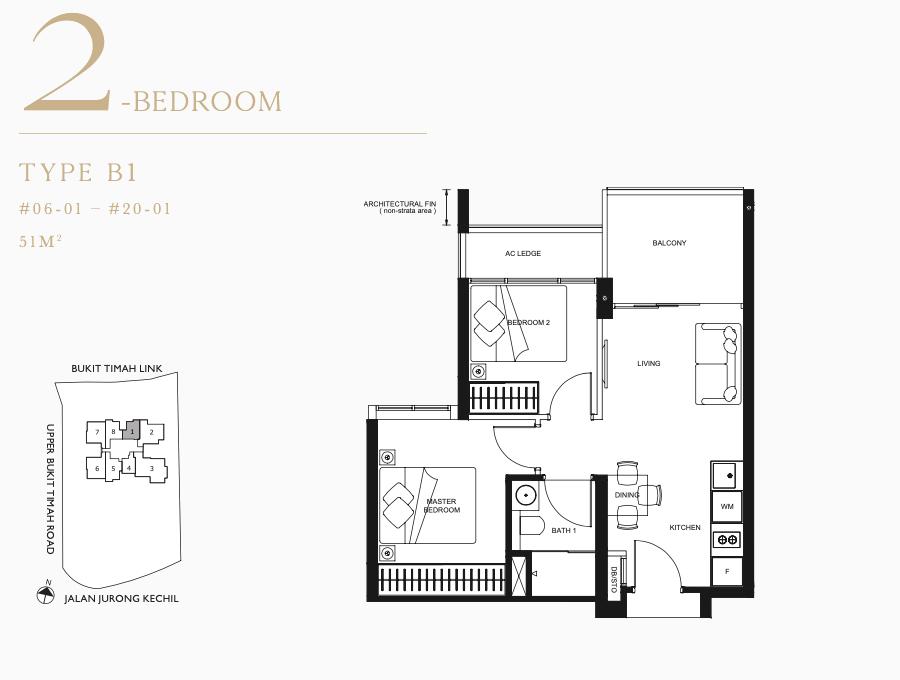 Linq Floor Plan . 2 Bedroom Type B1