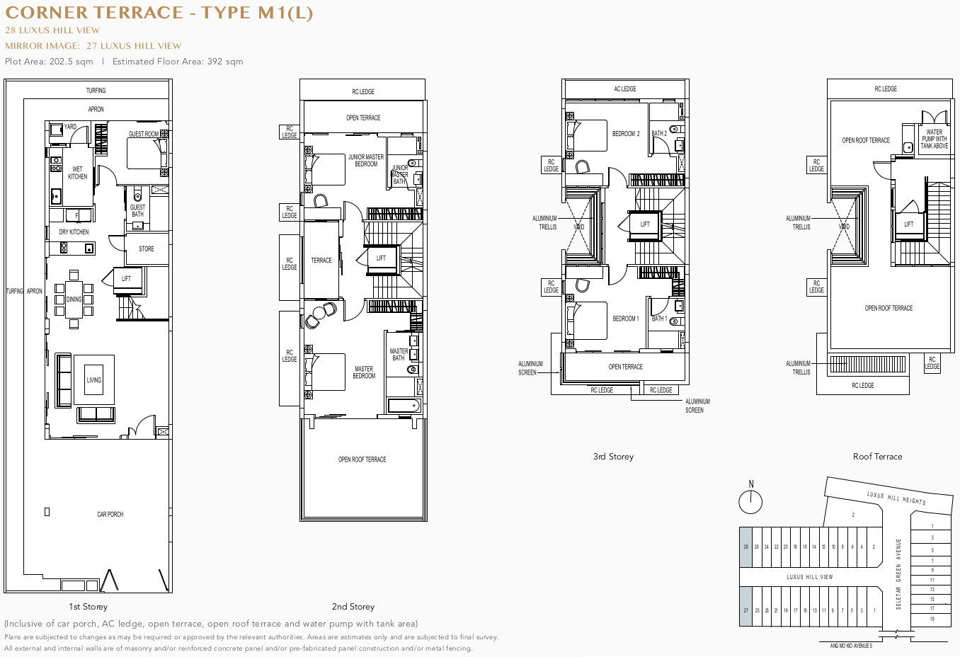 Luxus Hills Floor Plan . Corner Terrace Type M1