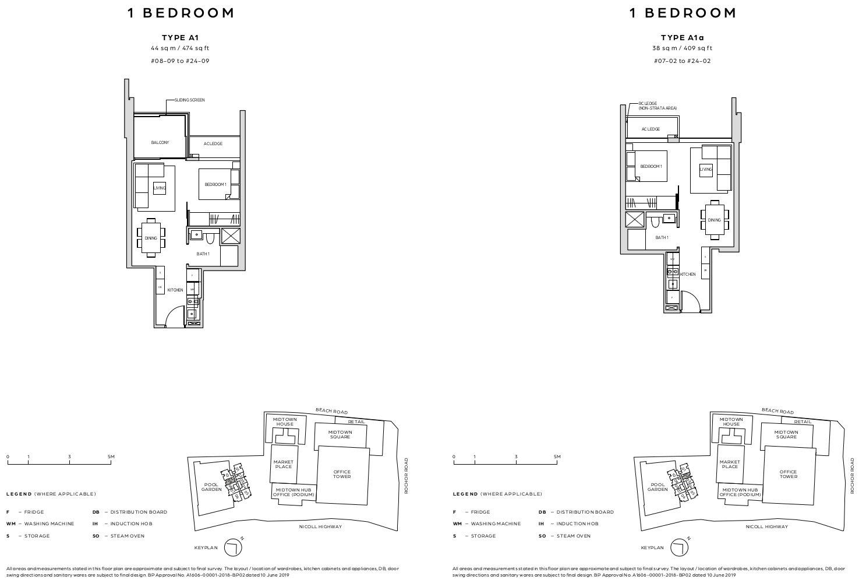 Midtown Bay Floor Layout Plan . One Bedroom Type A1
