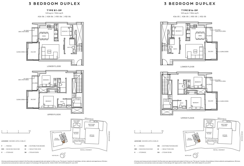 Midtown Bay Floor Plans . 3BR Duplex Type B1-DP