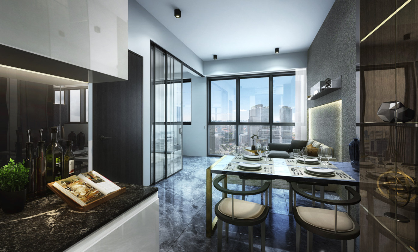Artist's Impression . Guoco Midtown Bay Showroom . Dining & Living