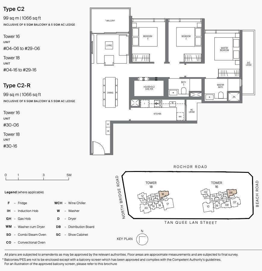 Midtown Modern Condo Floor Plan . 3 Bedroom Type C2