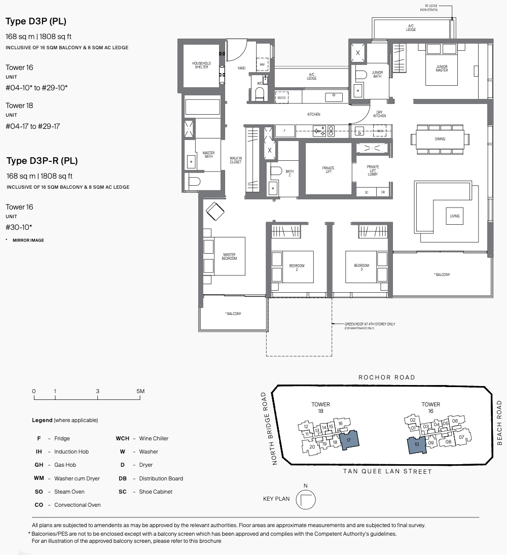 Midtown Modern Condo Floor Plans . 4 Bedroom Type D3P with Private Lift