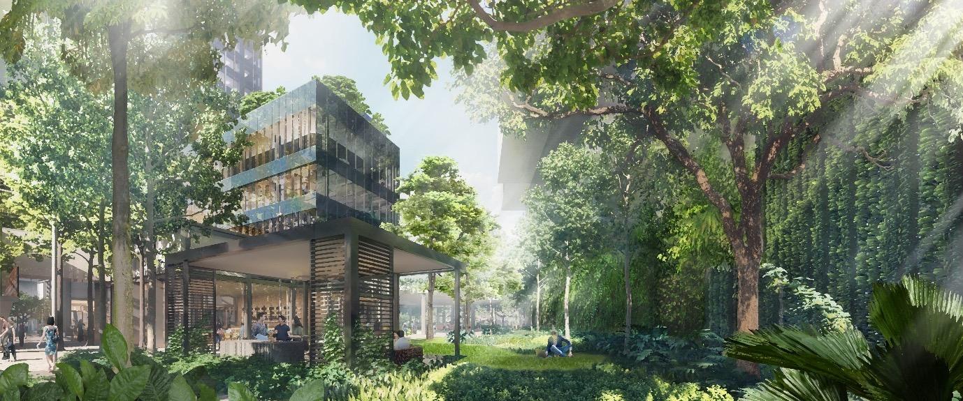 Midtown Modern Condominium . Water Garden with Public Pavilion