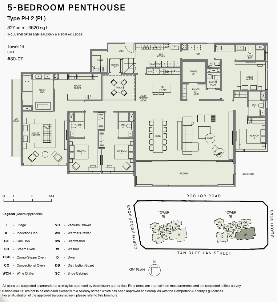 5 Bedroom Penthouse with Private Lift . Type PH2 Floor Plan