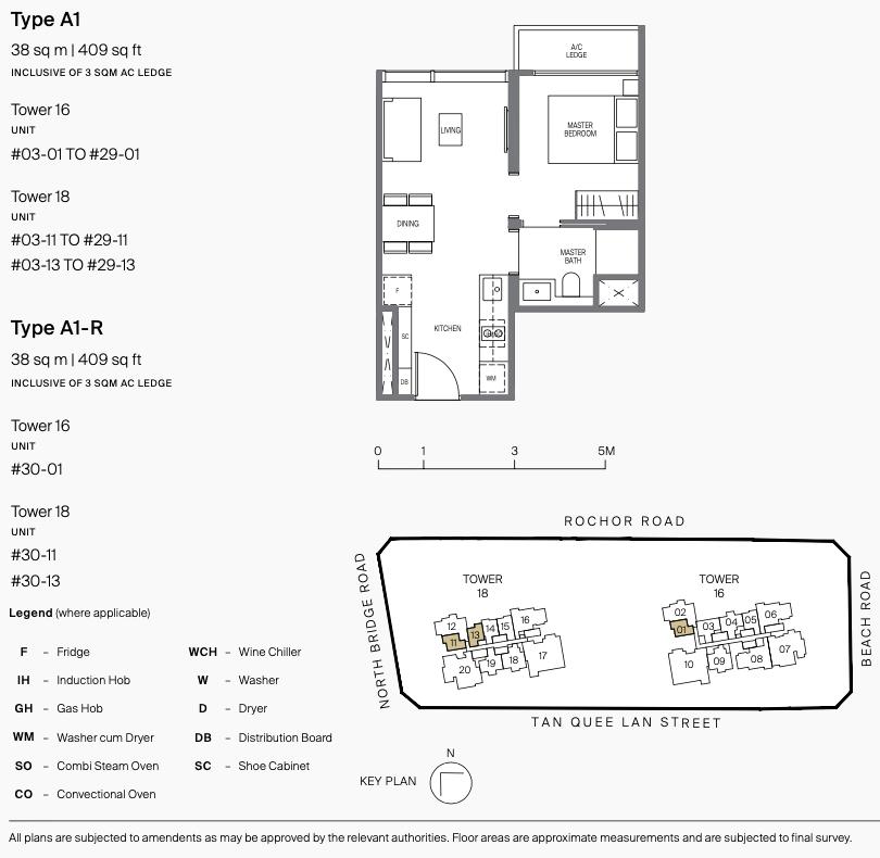 Midtown Modern Floor Plan . One Bedroom Type A1