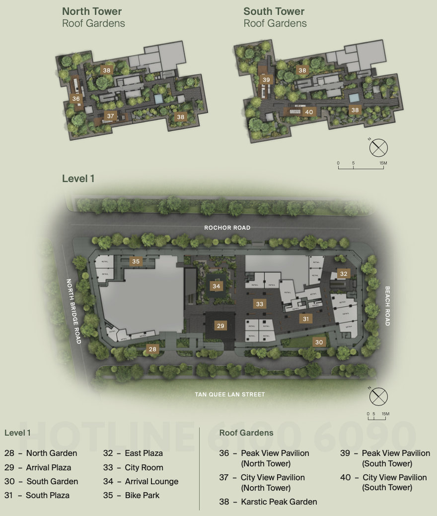 Midtown Modern Site Plans . Level 1 and Roof Gardens