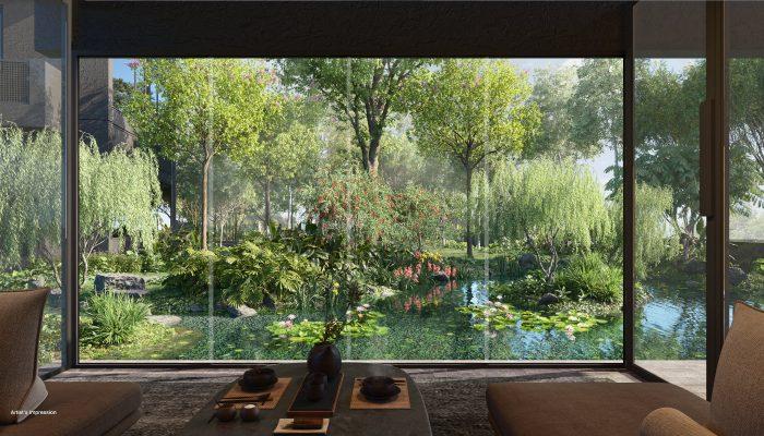 Midtown Modern Condominium . View Out to Garden