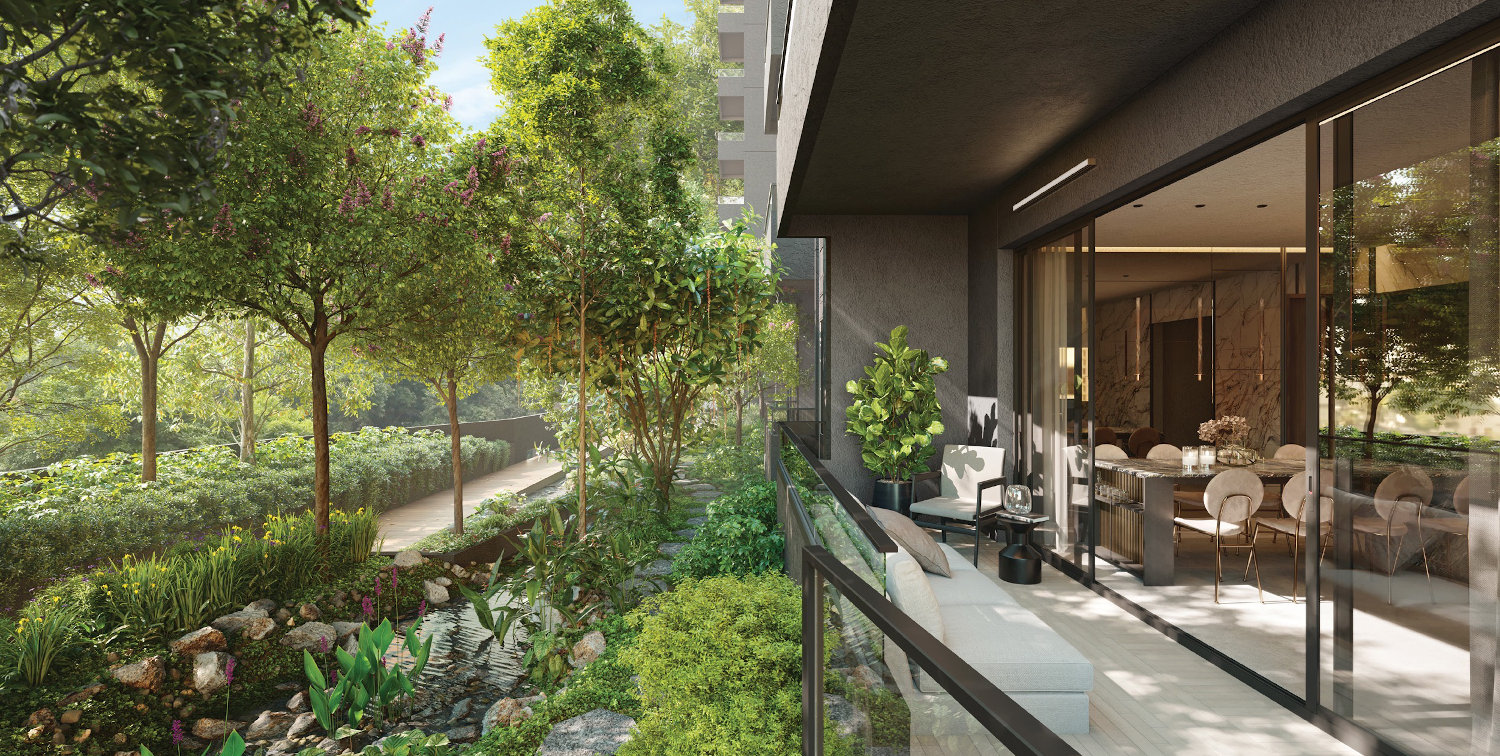 Artist's Impression of Apartment with Garden View