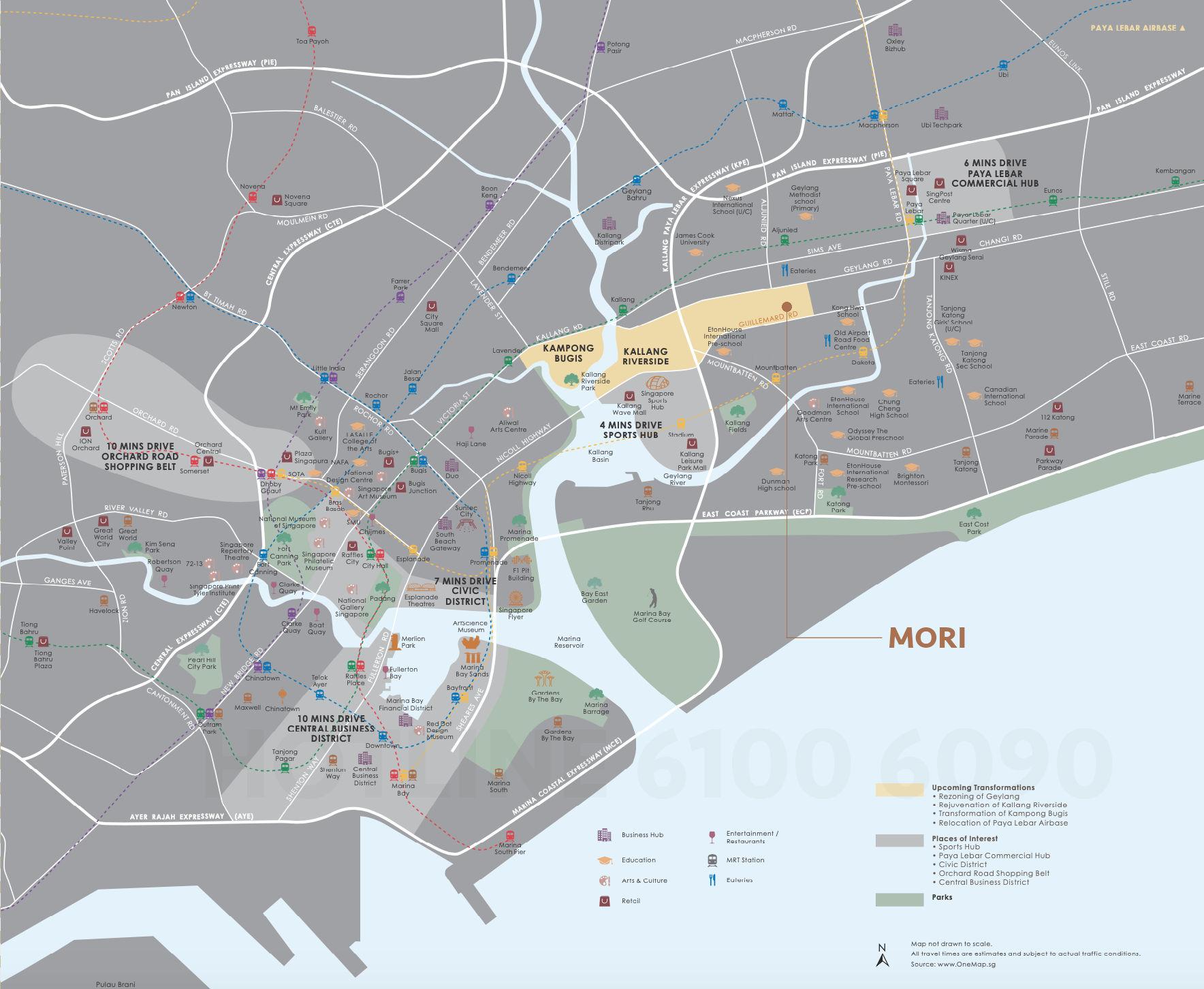 Mori Condominium Location Map . On Fringe of CBD . Click to Enlarge