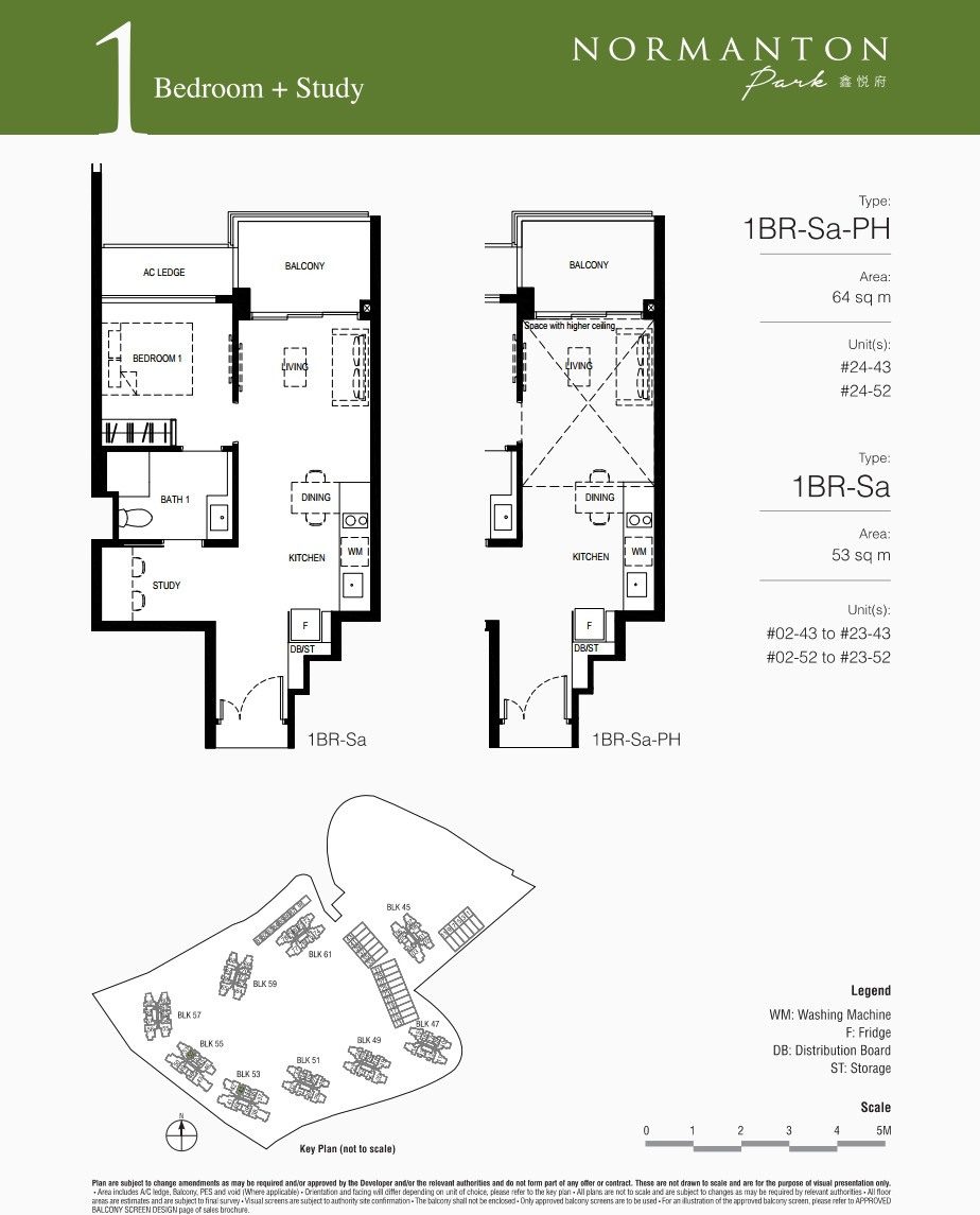 Normanton Park Floor Plan . Showflat 1BR + Study