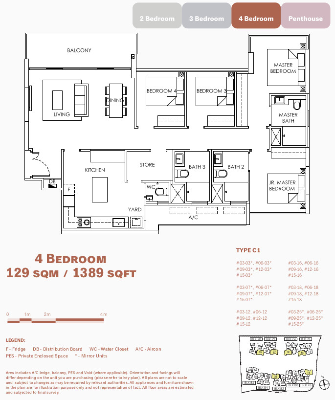 OLA Floor Plan Layout . 4 Bedroom Type C1