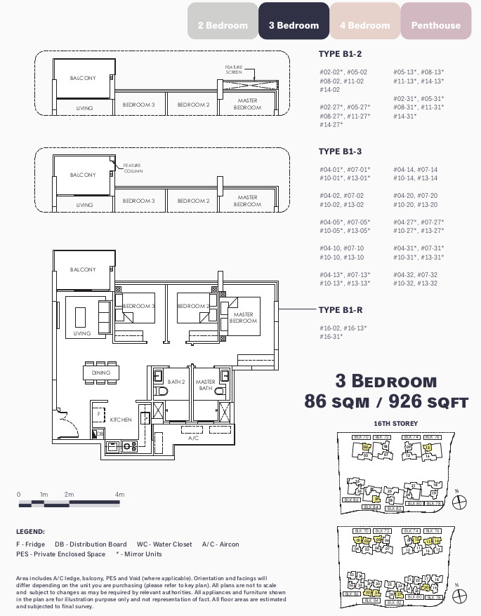 OLA Floor Layout Plan . 3 Bedroom Type B1