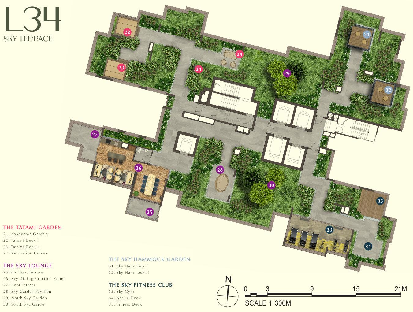 One Bernam Condo Site Plan . Level 34 Sky Terrace