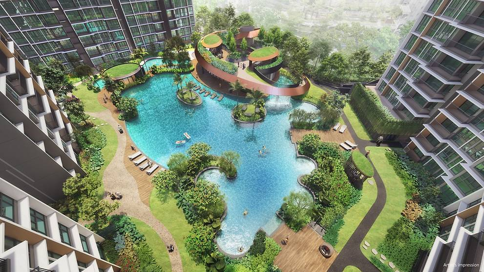 Artist's Impression . Parc Central Residences EC . Aerial View of Lake Pool