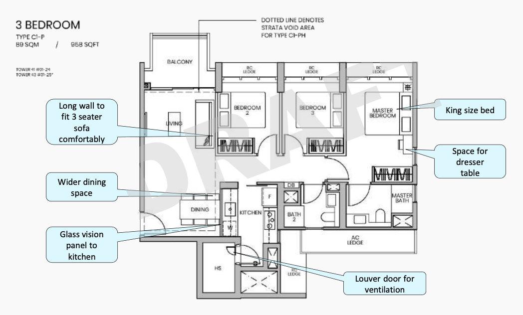 Parc Greenwich EC Floor Plan . Draft 3 Bedroom Type C1