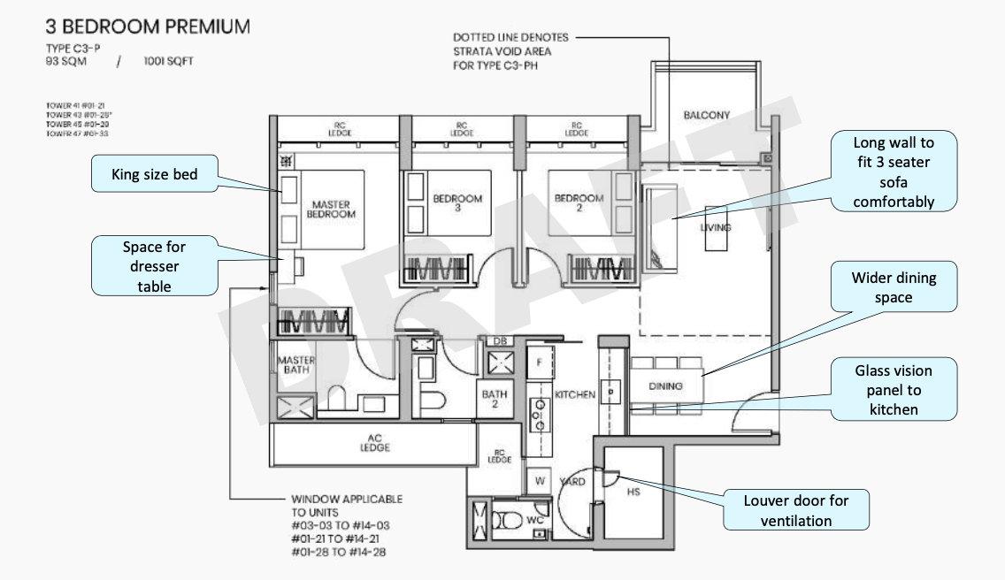 Parc Greenwich Floor Plans . Draft 3 Bedroom Premium Type C3