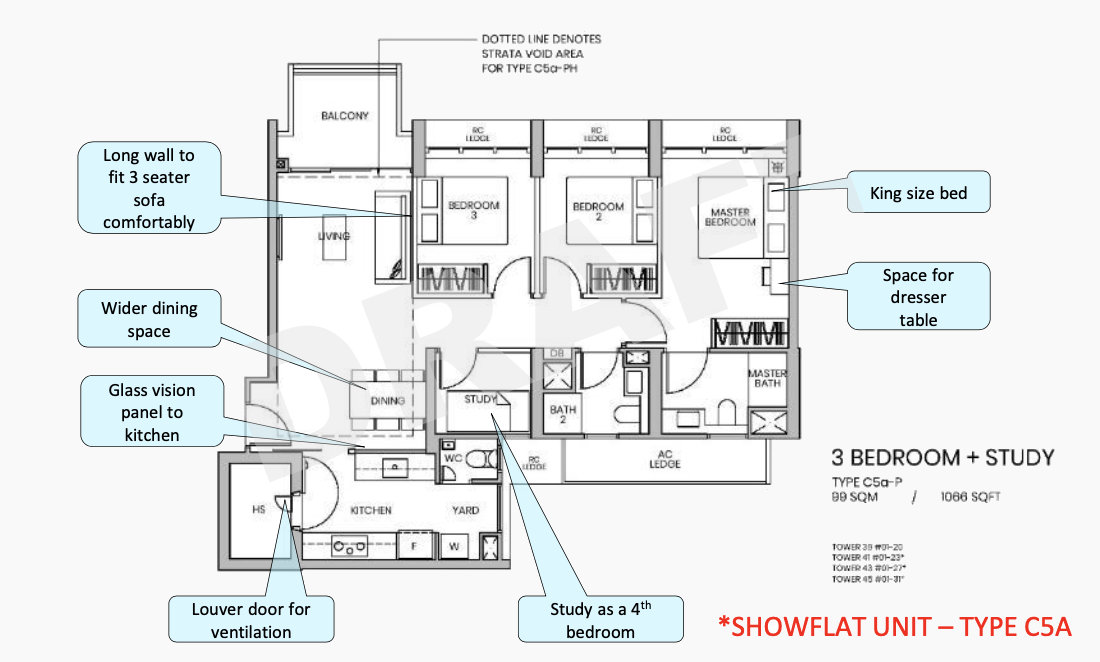 Parc Greenwich Showflat . Draft Type 3 Bedroom Type C5A