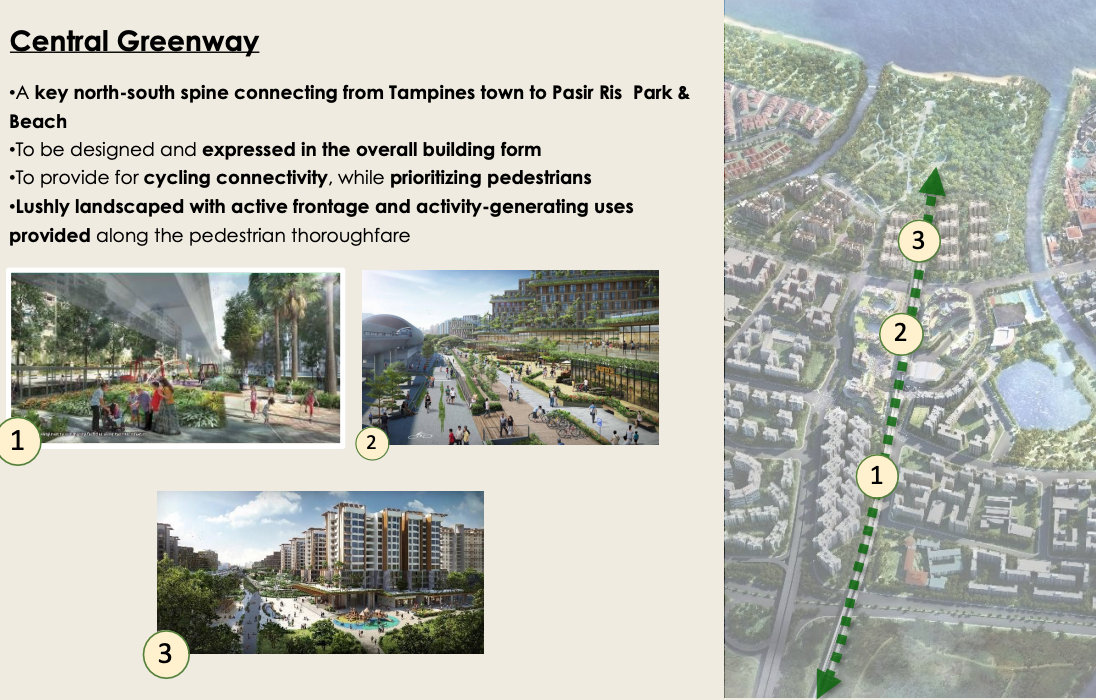The Central Greenway . From Tampines to Pasir Ris Park & Beach