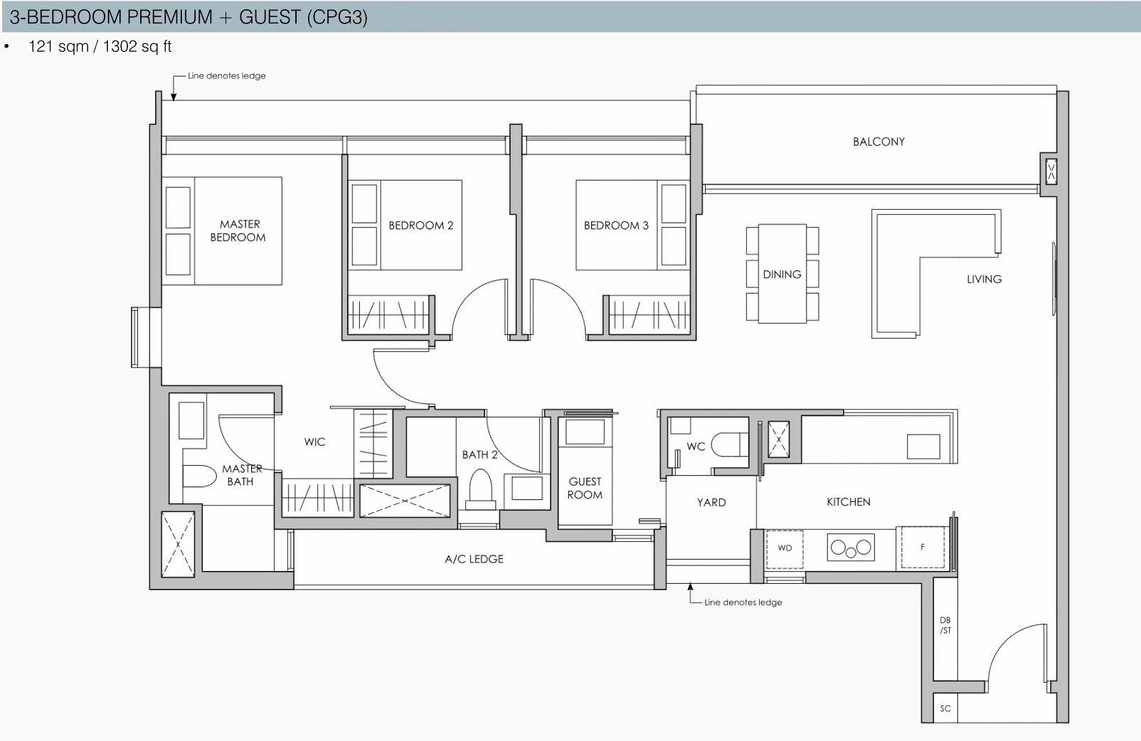 Pasir Ris 8 Floor Plans . 3 Bedroom Premium Guest Showflat Layout