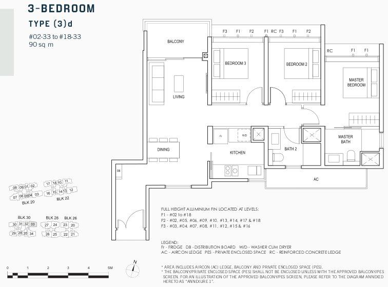 Penrose Condo Floor Plan . 3 Bedroom Type (3)d
