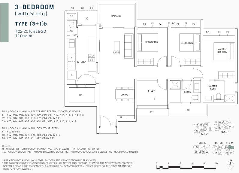 Penrose Floor Plan . 3 Bedroom with Study Type (3+1)b