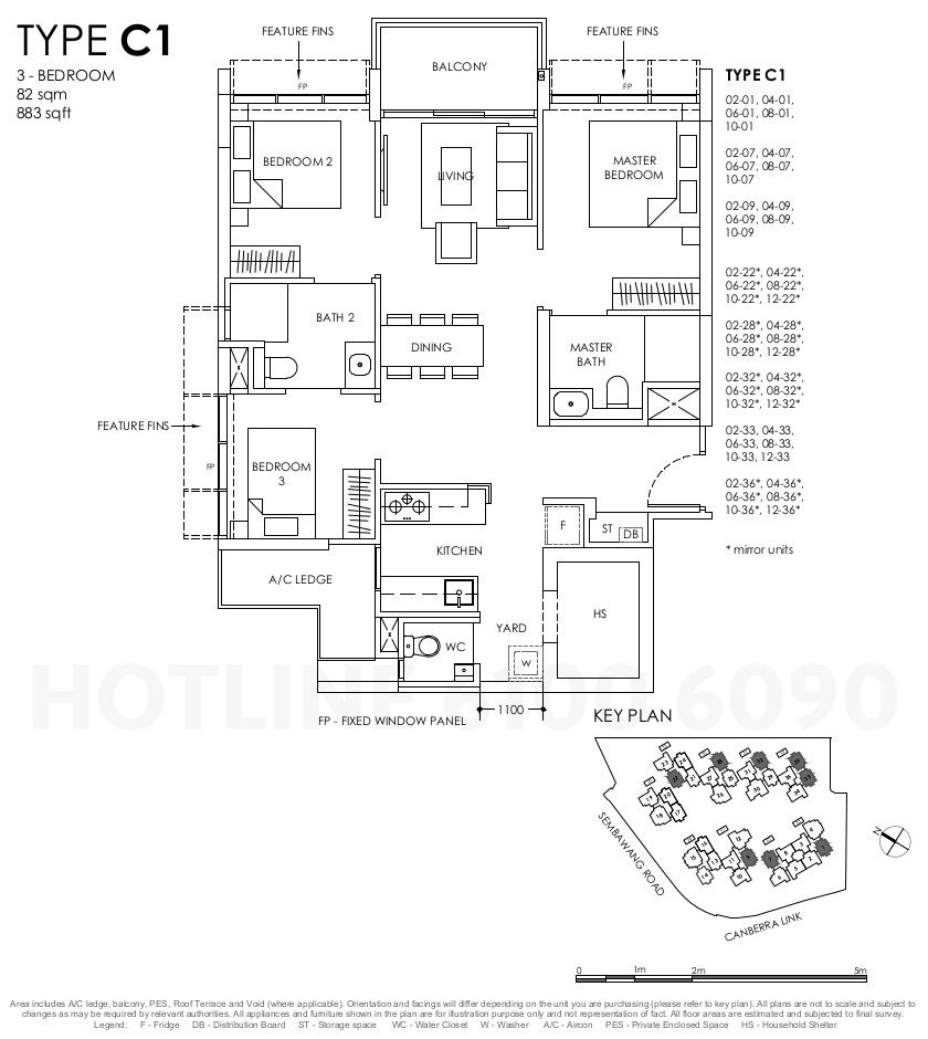 Provence Residence Floor Plan . 3BR Type C1