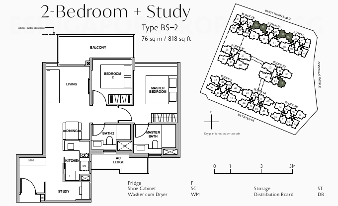 Royalgreen Floor Plan Layout . 2BR + Study Type BS-2