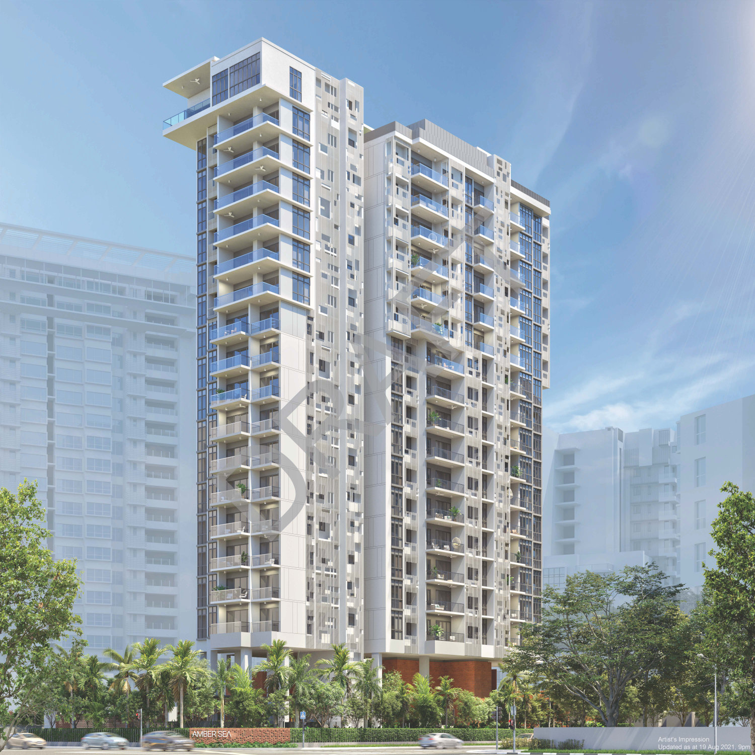 The Amber Sea Condo Tower . View from Amber Road