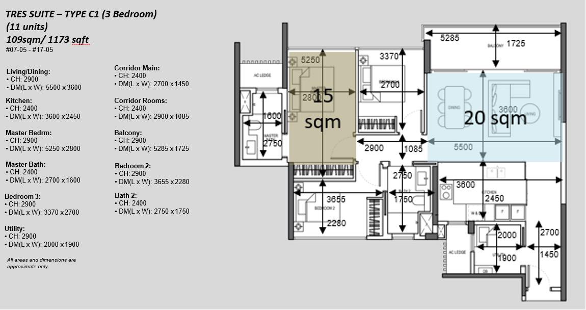 The Atelier Condo Floor Plan . 3BR Type C1 Tres Suite