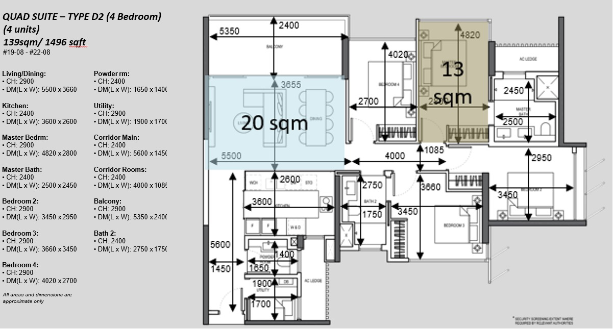 The Atelier Condo Floor Plans . 4BR Type D2 Quad Suite