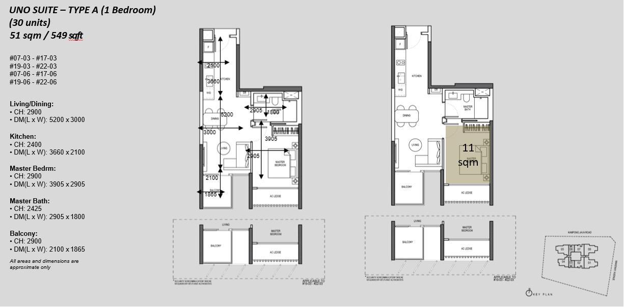 The Atelier Floor Plan . 1BR Type A Uno Suite