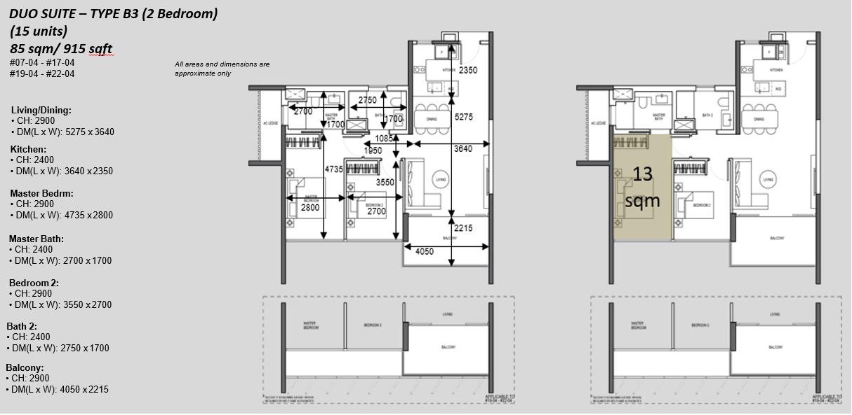 The Atelier Floor Plans . 2BR Type B3 Duo Suite