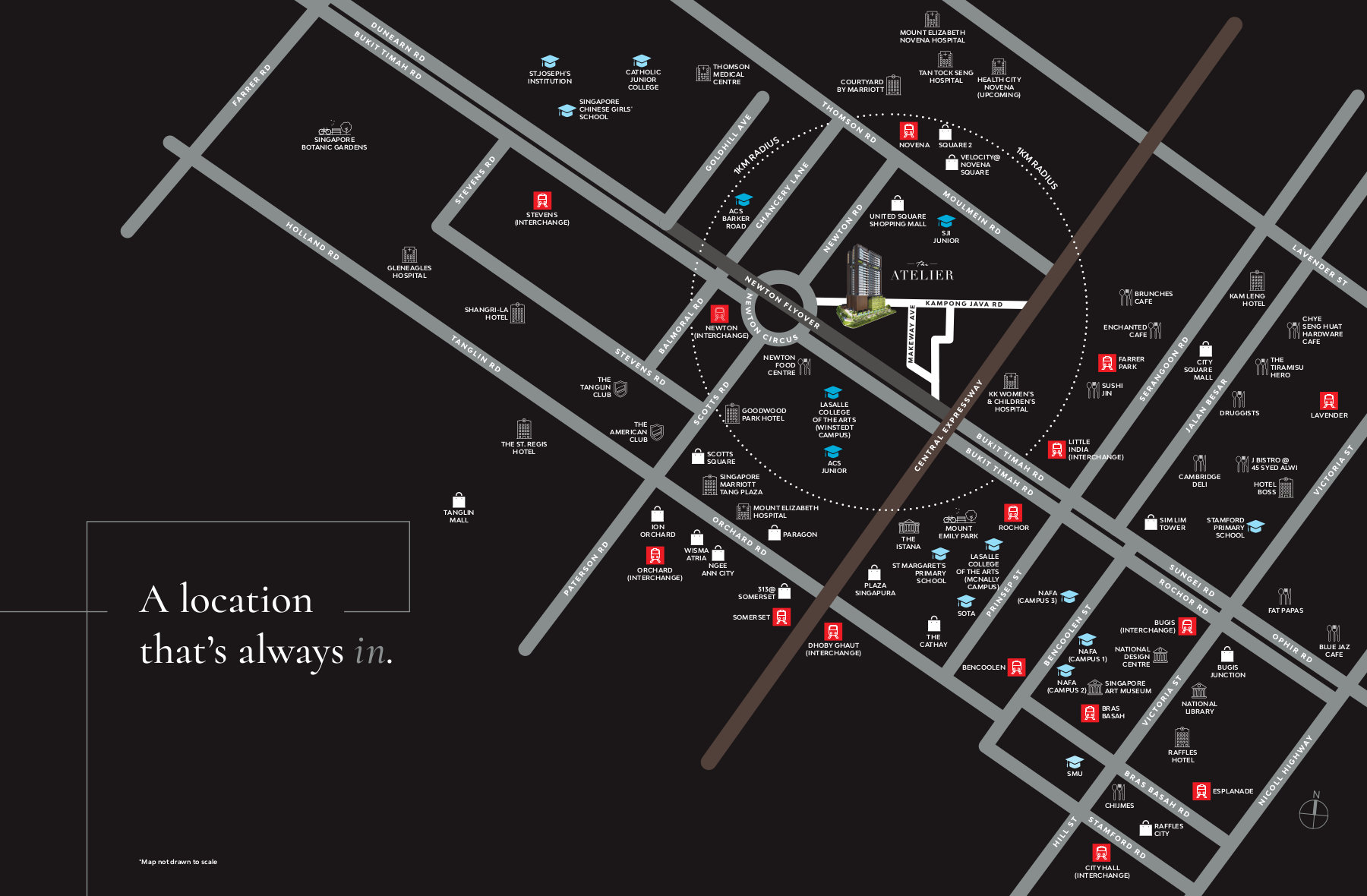 The Atelier Location Map . Surrounding Features