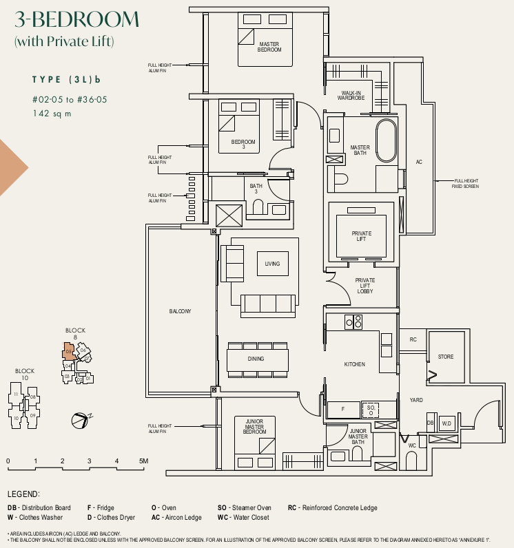Floor Plan . 3 Bedroom Type (3L)b