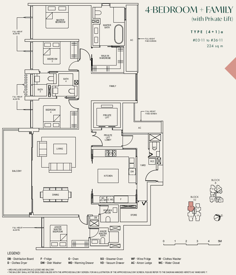 The Avenir Condo Floor Plans . 4 Bedroom Type (4+1)a