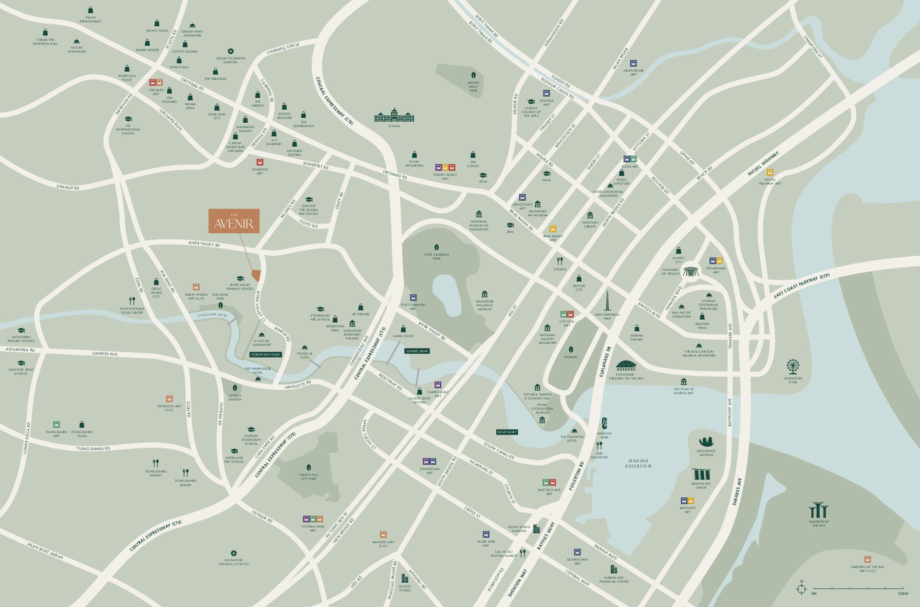 The Avenir Location Map . Neighbourhood & Amenities
