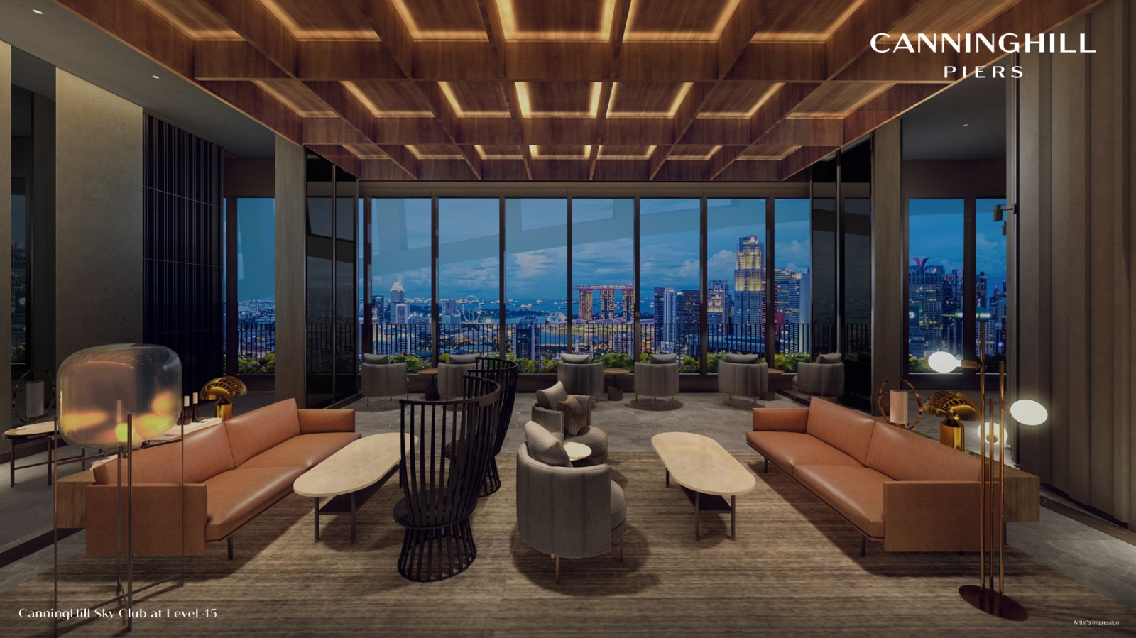 The Canninghill Piers . Sky Club at Level 45