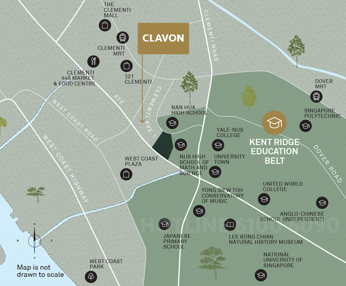 Artist's Impression . The Clavon Condo Location Map