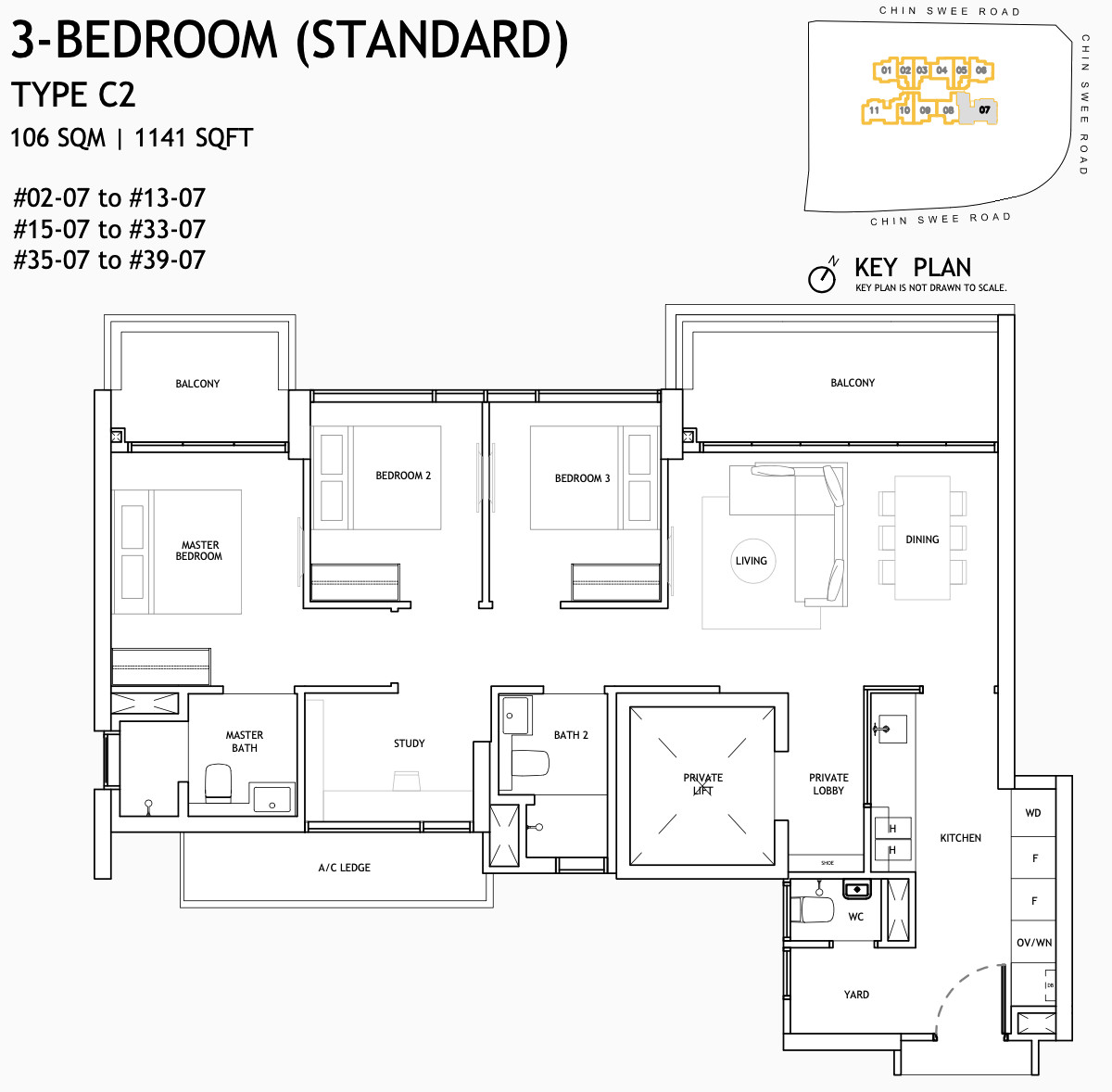 The Landmark Condo Floor Plan . 3 Bedroom Type C2