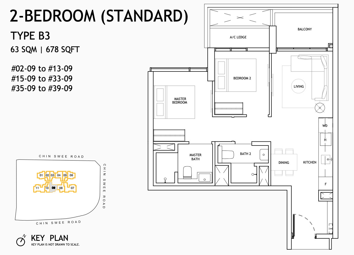 The Landmark Floor Plans . 2 Bedroom Standard Type B3