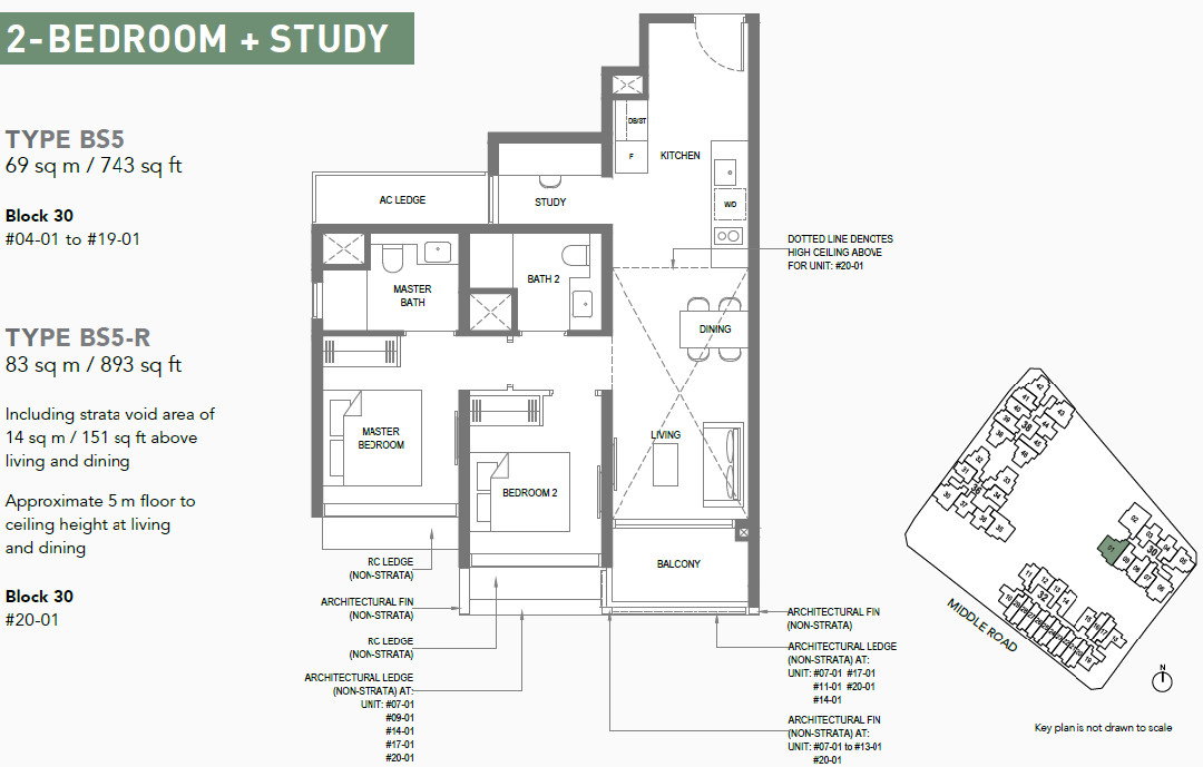 The M Condo Floor Plan . 2 Bedroom + Study