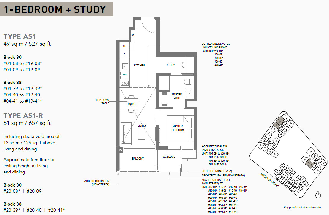 The M Floor Plans . 1 Bedroom + Study