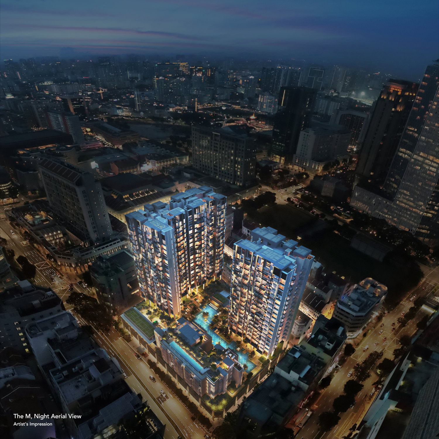 The M Mixed Development . Aerial Night View