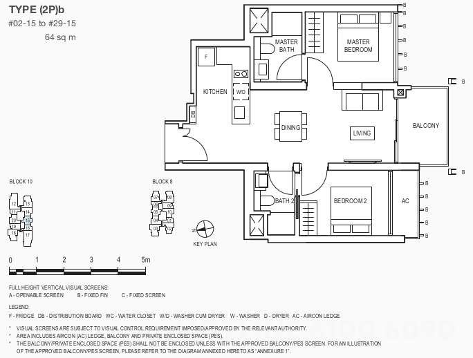 The Midwood Condo Floor Plan . 2 Bedroom Showflat Type