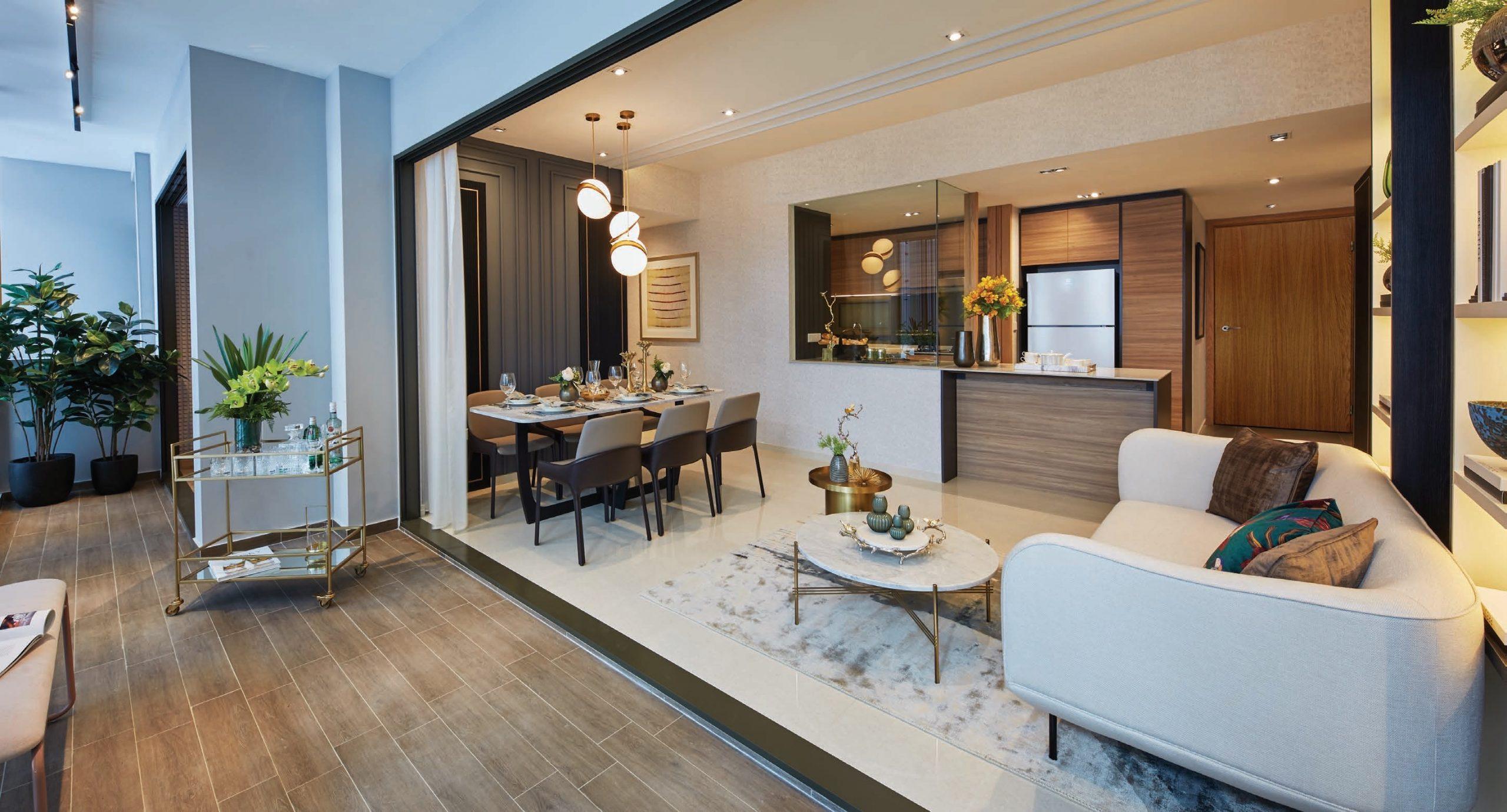 The Midwood Condo Showflat . Living Room + Balcony